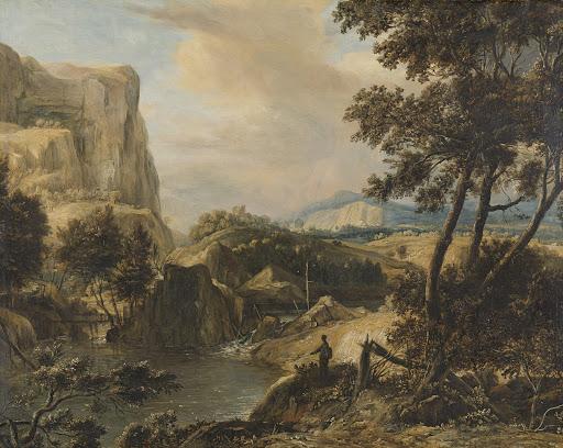 漁師がいる山の風景