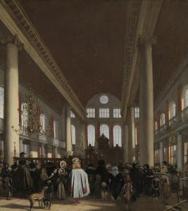アムステルダムのポルトガルユダヤ教会堂の中