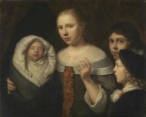 三人の子どもと若い女の肖像