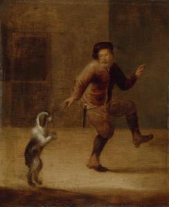 犬と踊っている男