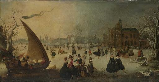 スケートをする人とアイスボートがある、凍った運河の風景