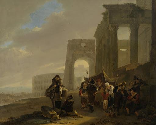 ローマの廃墟のそばの通りの場面