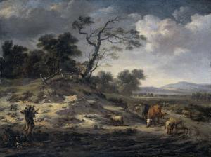 田舎道に牛がいる風景