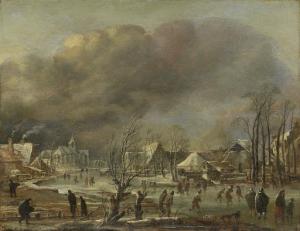 凍った運河沿いの村の降雪