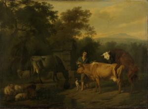 牛飼いと牛がいる風景