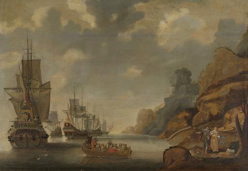 岩場の海岸近くのフランス艦隊