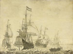 「ドレンテ」、「プリンスフレデリック・ヘンリー」を含む、オランダの戦艦がある海の風景