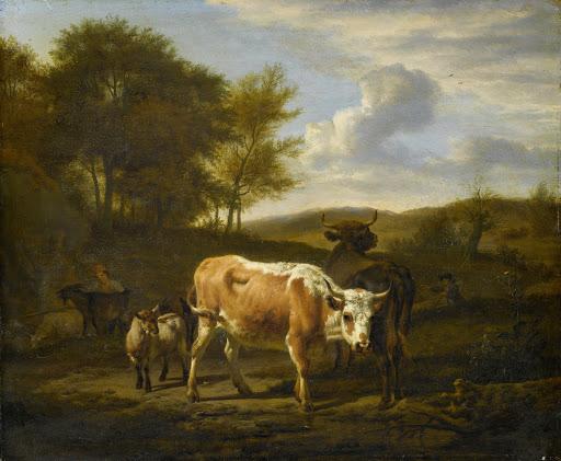 牛がいる山の風景