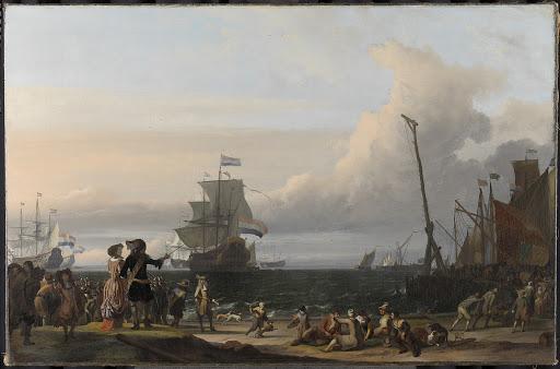 テクセルへの航路を行くオランダ船、中央にはコルネリス・トロンプの旗艦、「金のライオン」