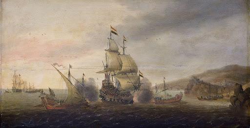 オランダの戦艦とスペインのガレー船の海戦