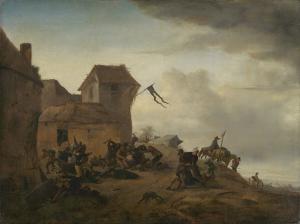 村の近くで喧嘩している農夫