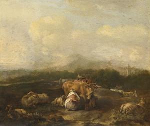 牛がいるイタリアの風景