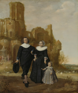 風景の中の夫婦と子どもの肖像