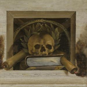 骸骨、月桂樹の冠、本、二本の燃えているロウソクがあるヴェニタスの静物