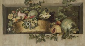 果物と花輪の静物