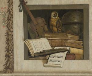 本、楽譜、ヴァイオリン、天体儀、フクロウの静物