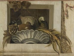 トウモロコシが入っているボウル、アーティチョーク、ブドウ、オウムの静物