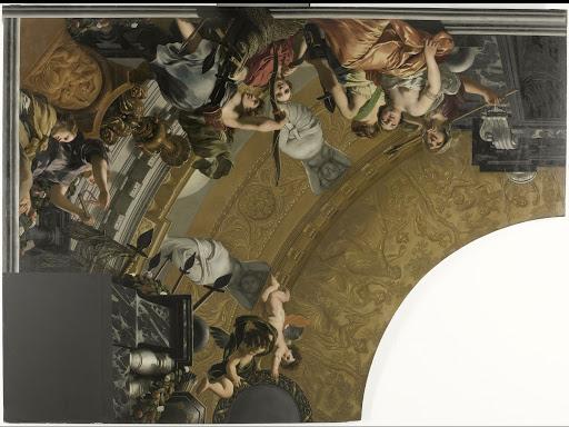 ダイアナと彼女の仲間たちをメインとした天井画の一部(左上)