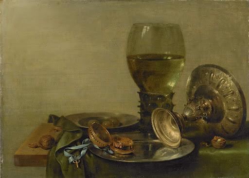 ルーマーと銀のカップの静物