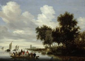 フェリーが浮かんでいる川の風景