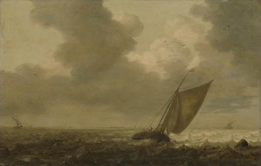 風を受けて進む釣り船
