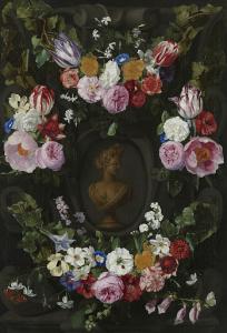 女神フローラの胸像の周りを囲む花づなの飾り