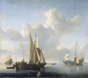 海岸の前の船