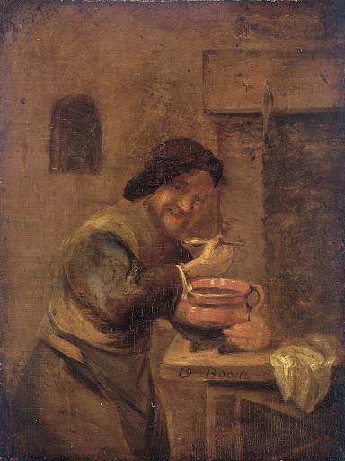 粥を食べる人