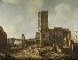1652年7月7日の火災後のアムステルダムの荒廃した古い市庁舎