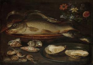 牡蠣、海老、魚のある静物