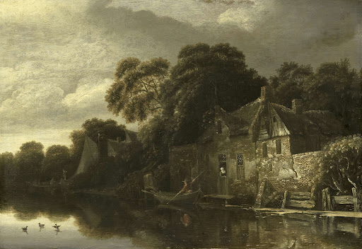 水上の古い小家屋