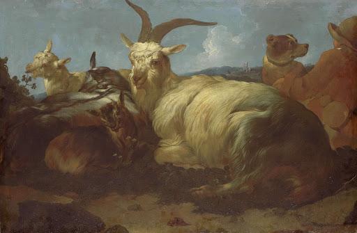 山羊飼いは彼の動物を見ている