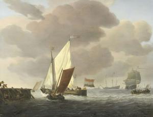 風の強い天候で、海岸沿いにある船