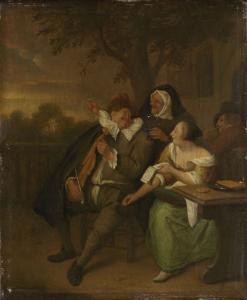 悪い一座の中でヴァイオリンを持っている男