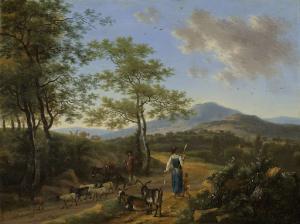 羊飼いがいる、イタリアの風景。
