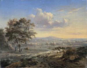 田舎道に馬乗りがいる、丘の風景