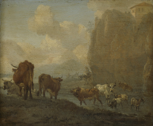 川のそばの家畜