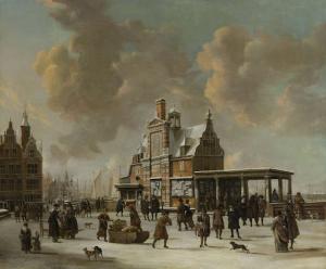 冬のアムステルダムの郵便局と新しい橋