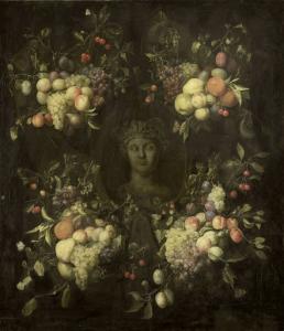 果物の花綱装飾に囲まれた大理石胸像