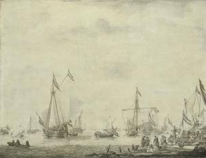 1660年にムールデイクから出港する王室と国家の遊行船と乗船するイングランド王、チャールズ2世