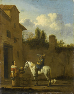 酒を飲む馬に乗ったトランペット奏者