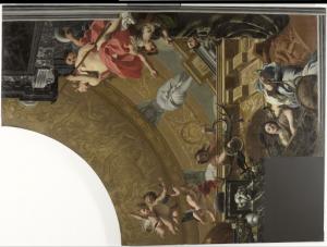 ダイアナと友たちによる披露を描いた天井画(右上)
