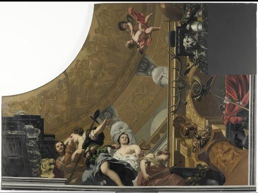 ダイアナと友たちによる儀式を描いた天井画(右下)