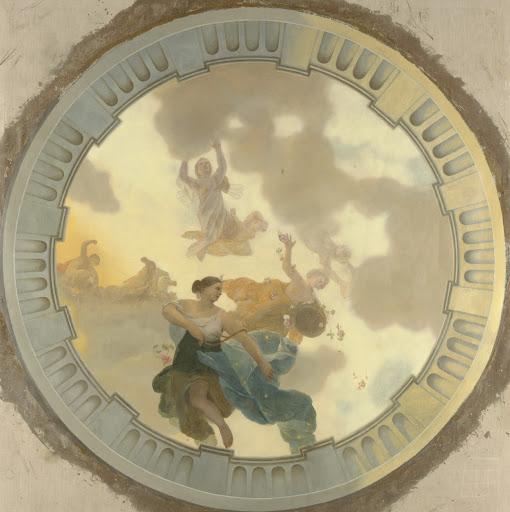 ダイアナと友たちによる披露を描いた天井画(中央)