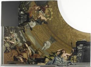 ダイアナと友たちによる儀式を描いた天井画(左下)