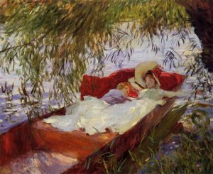 柳の下の小舟で眠る女性と子供