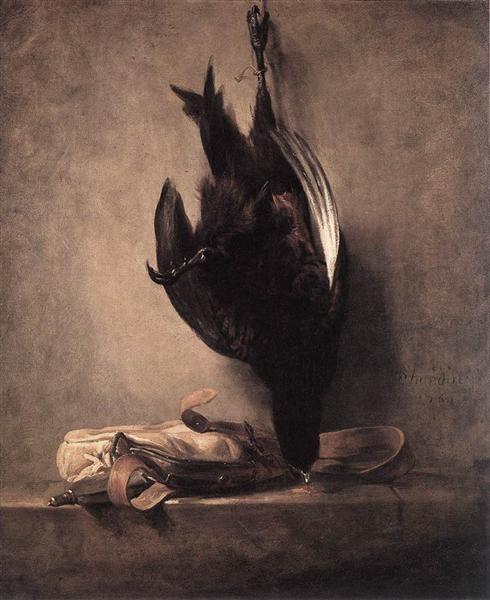 死んだ雉と獲物袋
