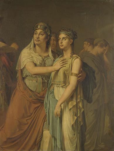 ジャン・ラシーネ(1639-99)のイフィヘニア(1674)に出てくる女優、ヨハンナ・コルネリア・ツィーセニス・ワティエル(1762-1827)とヘールトゥルイダ・ヤコバ・フレーヴェリンク・ヒルヴァーディンク(1786-1827)