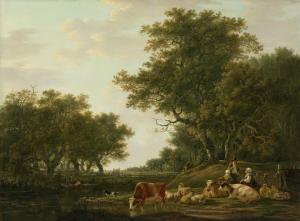 水上の釣り人と小作人と彼らの牛のいる風景