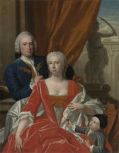 妻ヨハンナ・マリア・ズィヒテルマン(1726-1756)と息子ヤン・アルベルト(1744生)といっしょにいる、ベレント・ヴァン・イデキンゲ(1717-1801)